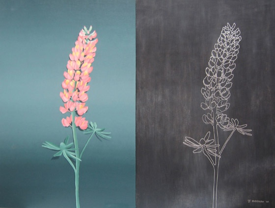 Burned Lupin Oil on masonite